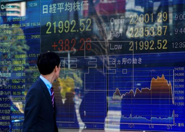 Las acciones mundiales caían y el dólar tocaba un máximo de dos meses