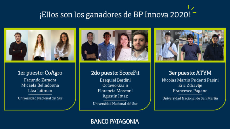 Se conocieron los ganadores del Programa BP Innova 2020 de Banco Patagonia