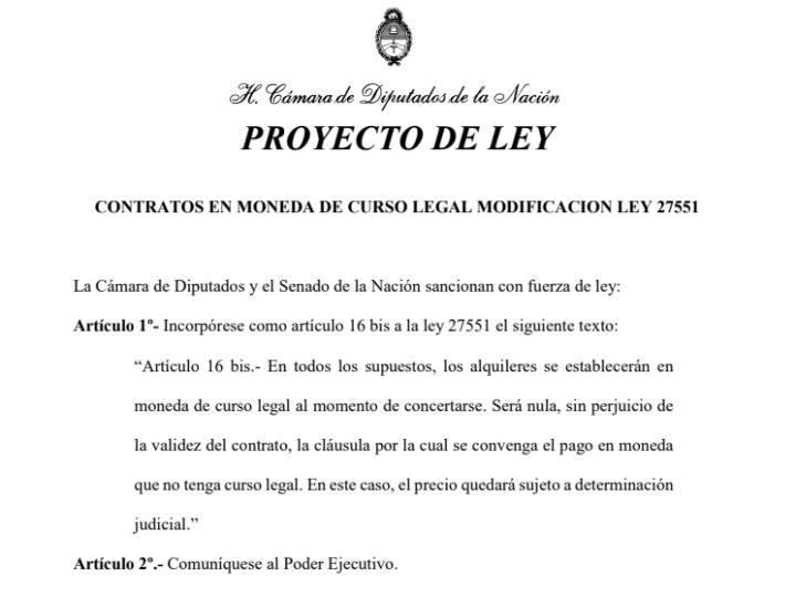 Un proyecto de la Federación de Inquilinos pide prohibir la dolarización de alquileres