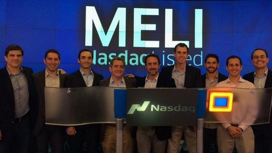 """""""Meli"""" en la bolsa de Nueva York subía 3,6% y quedaba apenas por debajo de los US$ 2.000"""
