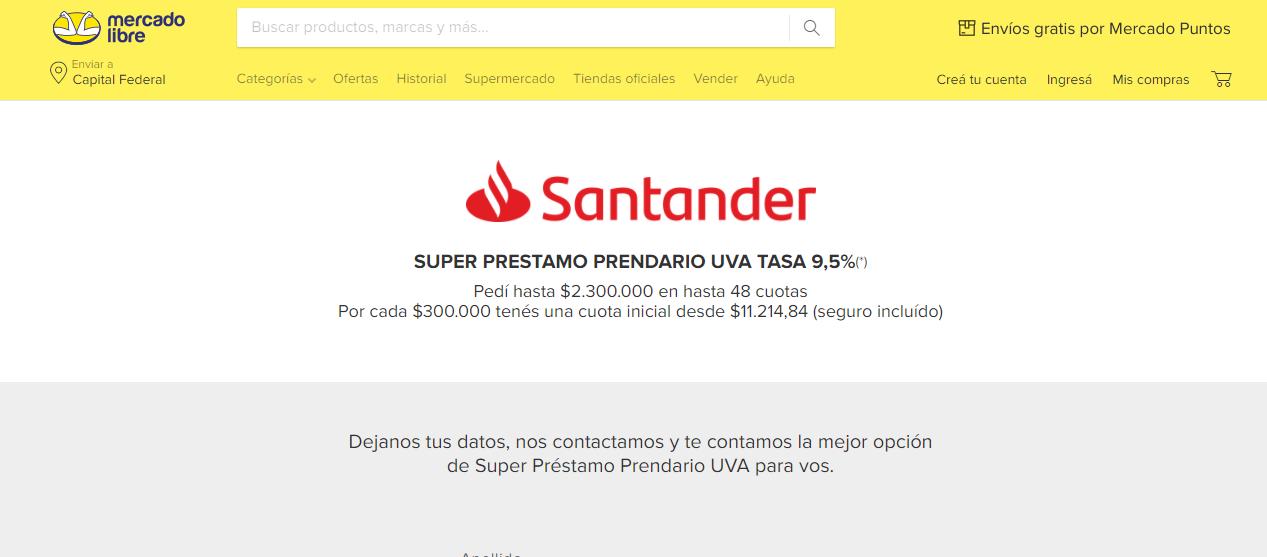 Financiamiento prendario automotor de Santander  y Mercado Libre