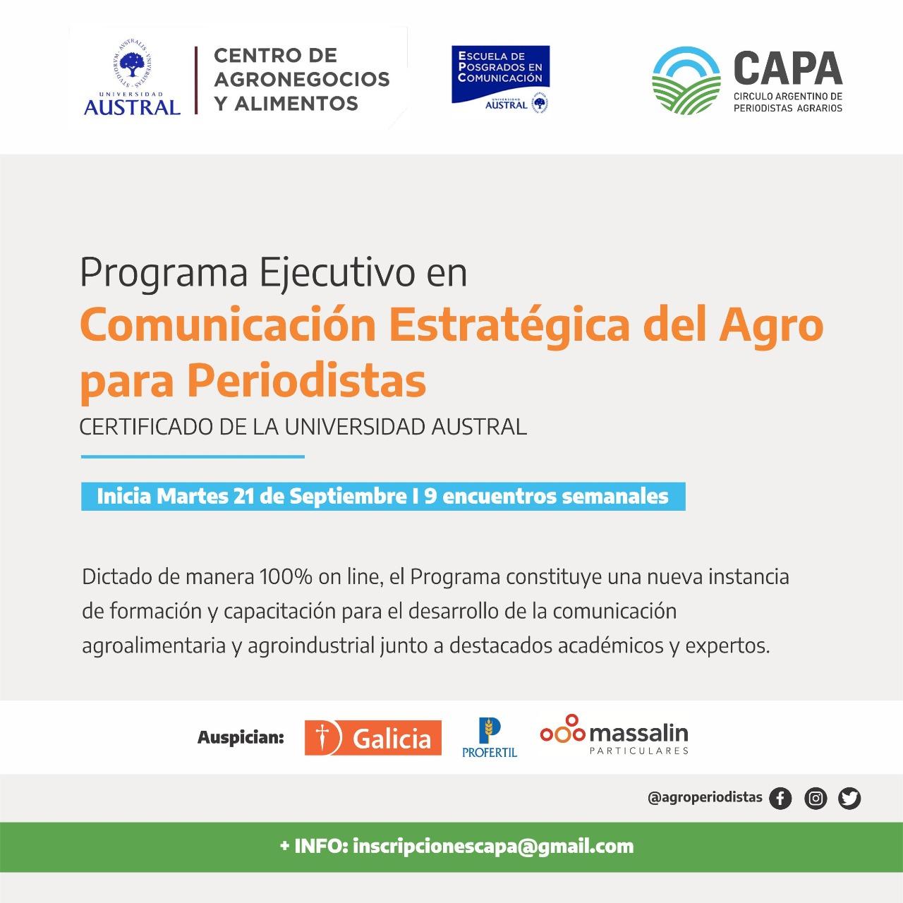 El 21 de septiembre comienza el Programa de Comunicación Estratégica del Agro para Periodistas